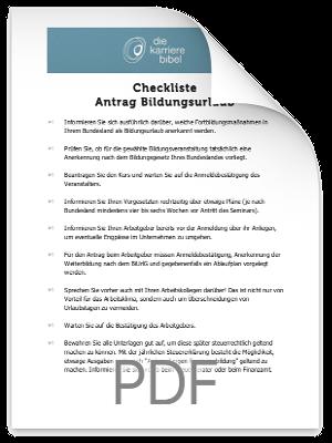 Checkliste Bildungsurlaub Antrag PDF eBook Cover