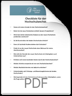 Checkliste Hochschulwechsel PDF eBook Cover