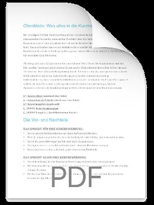 Checkliste Kurzbewerbung PDF eBook Cover
