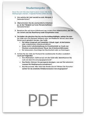 Checkliste Studentenjobs PDF eBook Cover