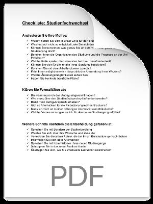 Checkliste Studienfachwechsel PDF eBook Cover