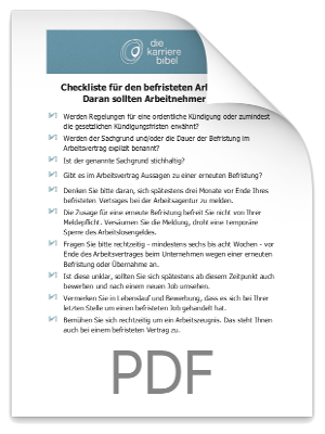 Checkliste befristeter Arbeitsvertrag PDF eBook Cover