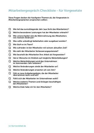 Mitarbeitergespraech Checkliste Fuehrungskraft Vorlage