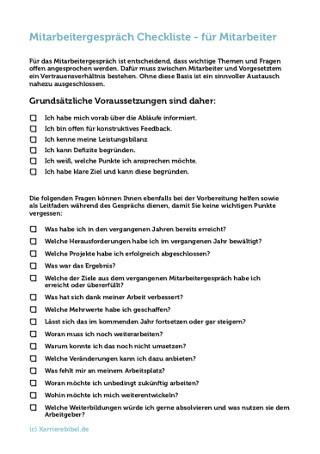 Mitarbeitergespraech Checkliste Mitarbeiter Vorlage