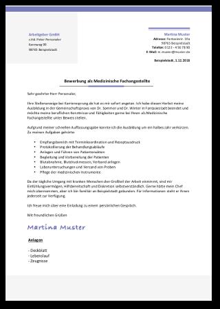 Bewerbung Medizinische Fachangestellte Anschreiben Vorlage Muster Beispiel Cover