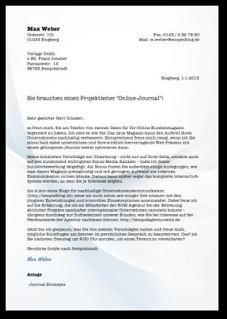 Bewerbungsschreiben Initiativbewerbung Vorlage Cover