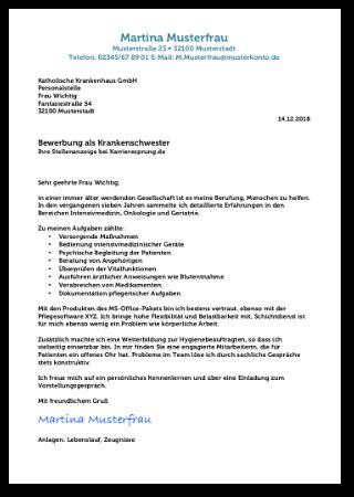 Bewerbungsschreiben Krankenschwester Vorlage Kostenlos Muster Cover