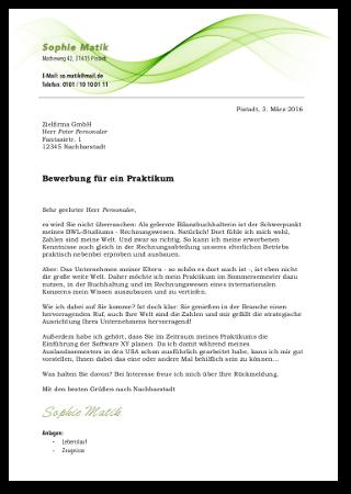 Bewerbungsschreiben Praktikum2 Vorlage Cover