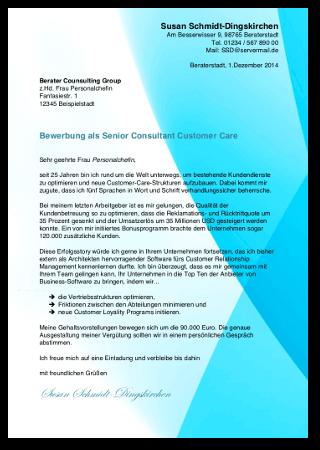 Bewerbungsschreiben Vorlage Kostenlos Beraterin Muster Cover