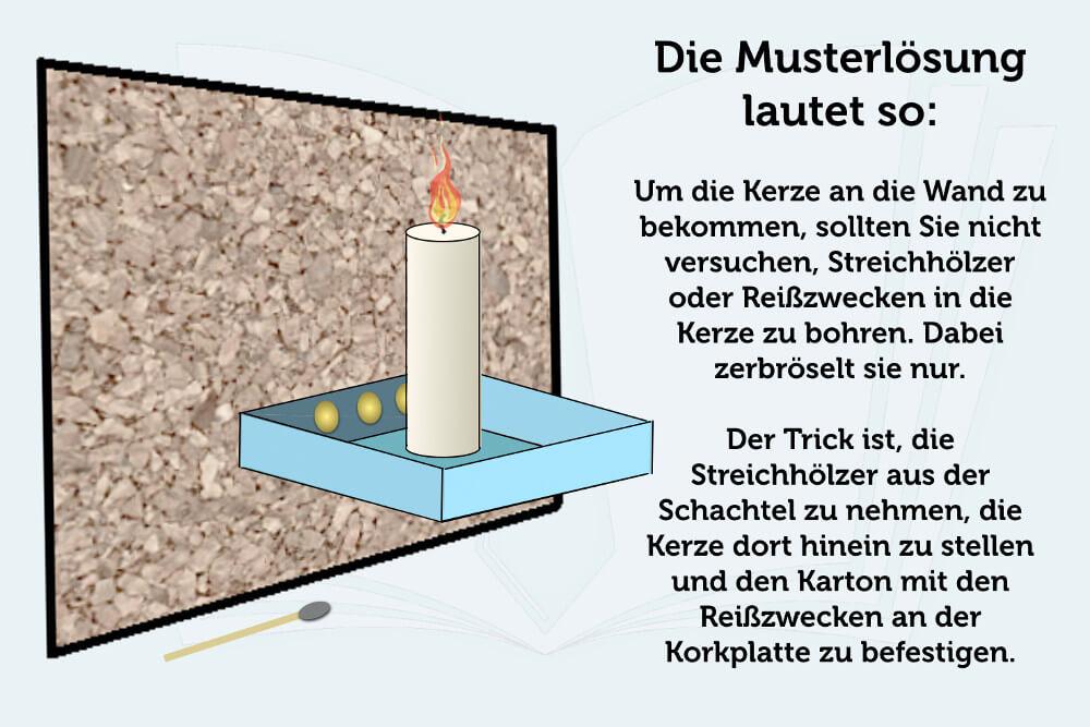 Kreativitaetstest Kerze Wand Schachtel Loesung