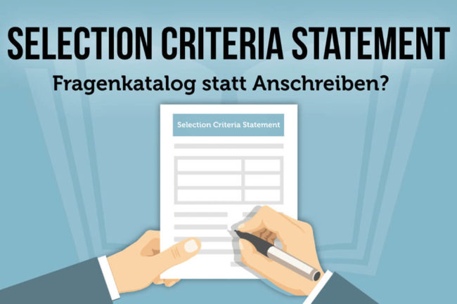 Selection Criteria Statement: Fragenkatalog statt Anschreiben?