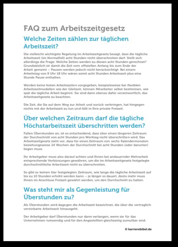 Arbeitszeitgesetz Faq Pausen Ueberstunden Fragen Antworten Ausnahmen Pdf Cover
