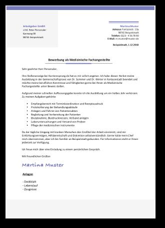 Musterbewerbung Als Medizinische Fachangestellte Mfa 14