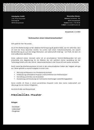 Bewerbung Industriemechaniker Bewerbungsschreiben 10