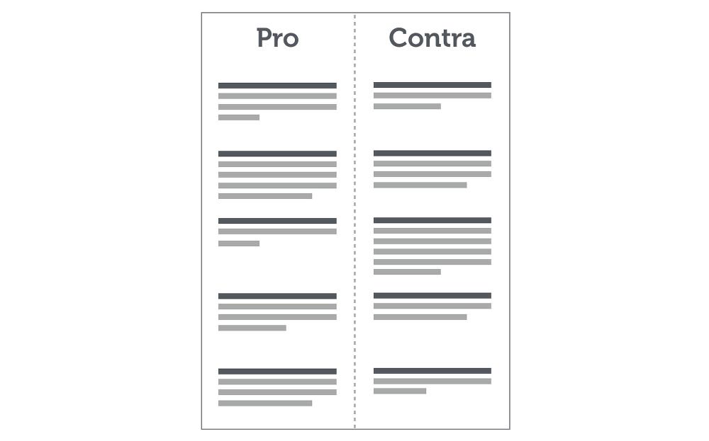 Entscheidungen Treffen Methode Pro Contra Liste