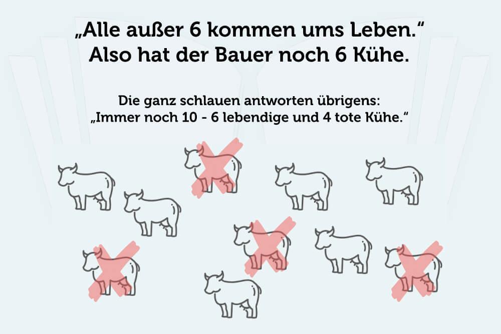 Knobelaufgabe Denksport 10 Kühe Lösung