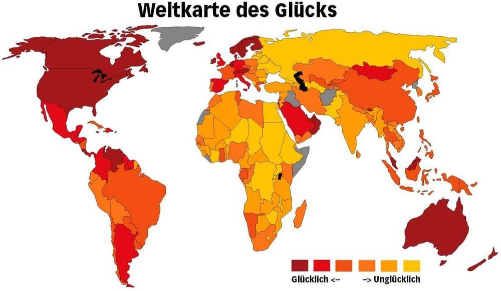 Weltkarte Glueck Glueckliche Menschen Unesco Studie